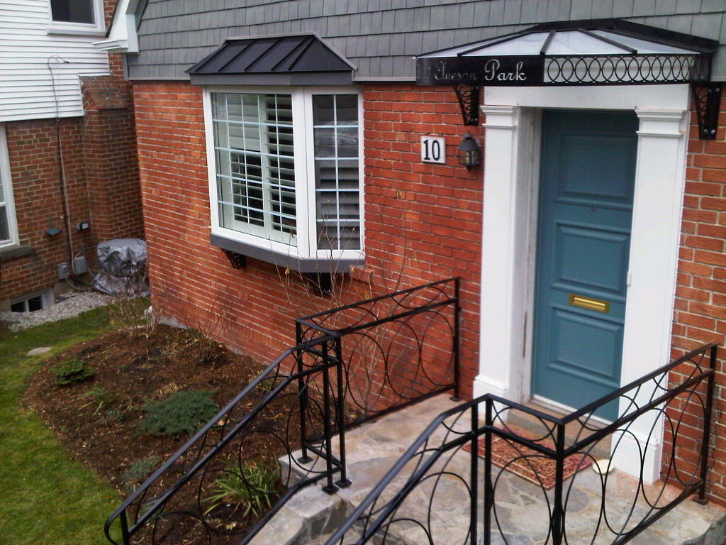 Toronto Area Home Continues Theme Of Modern Scrolled Look Custom Metal  Handrails And Canopies For Bay