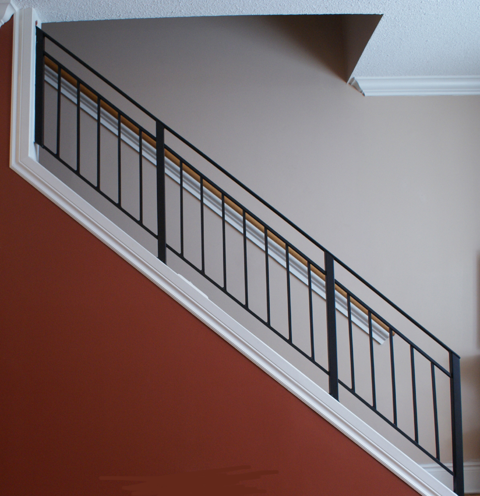 Railings interior stairs and stair railing on pinterest for Interior iron railing designs